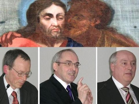 Begrüßten die Tagungsteilnehmer: Dr. Markwart Herzog (Schwabenakademie Irsee), Dr. Florian Schuller (Katholische Akademie in Bayern) und Prof. Dr. Adalbert Keller (Akademisches Forum der Diözese Augsburg).