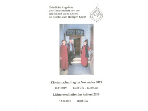 Klosternachmittag und Lichtermeditation im Hl. Kreuz-Kloster