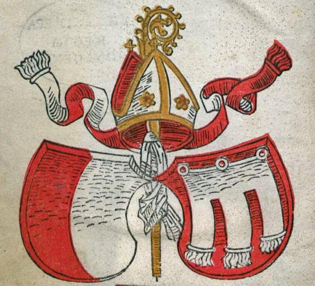 Das Wappen des Augsburger Bischofs Johann II. von Werdenberg (reg. 1469-1486) in der Widmung des Augsburger Breviers von 1485 (Bayerische Staatsbibliothek München, L.impr.membr. 6)