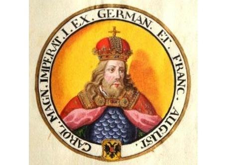 Kaiser Karl der Große, Phantasieportrait, um 1729, ABA Hs 63/2, Nr. 95.