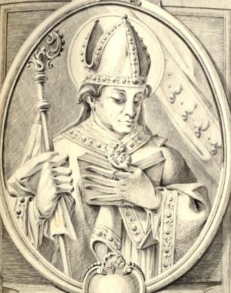 Bischof Simpert von Augsburg, Phantasieportrait, um 1729, ABA Hs 63/1, 207.