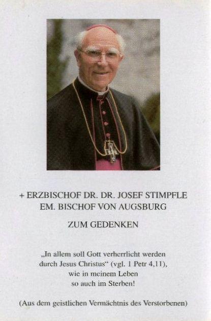 Sterbebild von Erzbischof DDr. Josef Stimpfle, ABA Fotosammlung