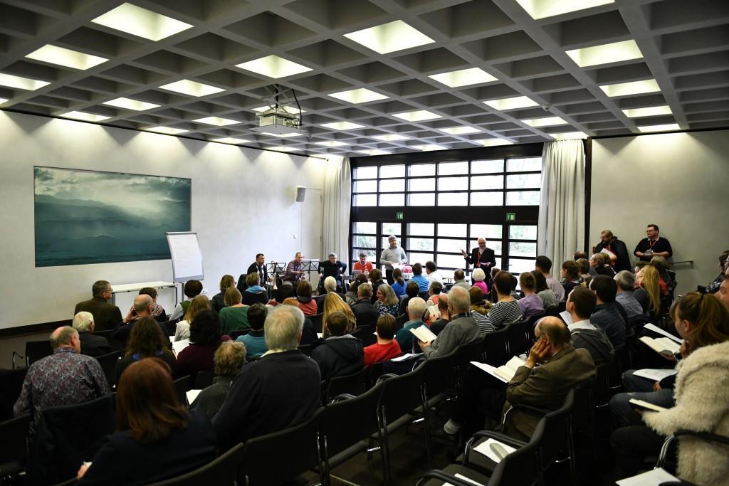 Vorstellung des Bläserhefts zum Gotteslob-Eigenteil Augsburg (Bild:  © Julian Schmidt, Bischöfliche Pressestelle Augsburg)