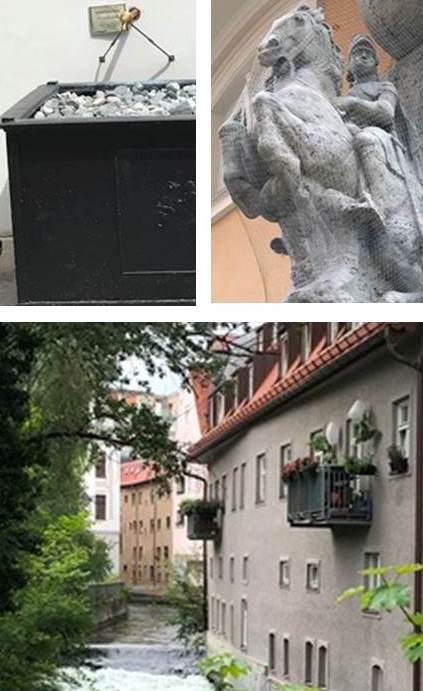Die drei Stationen des Parcours: Ulrichsbrunnen - Reiterdenkmal Kaiser Maximilian I. - Mauerbad
