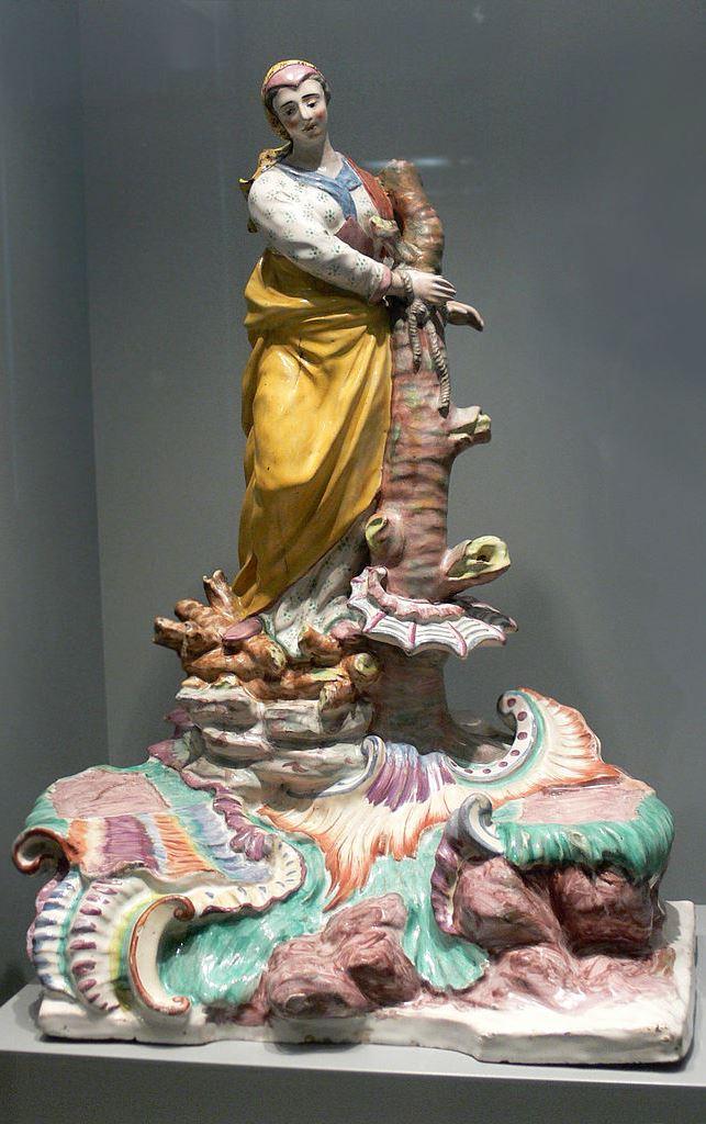 Afras Martyrium, Fayence der Porzellanmanufaktur Göggingen, um 1750, Bayerisches Nationalmuseum, München