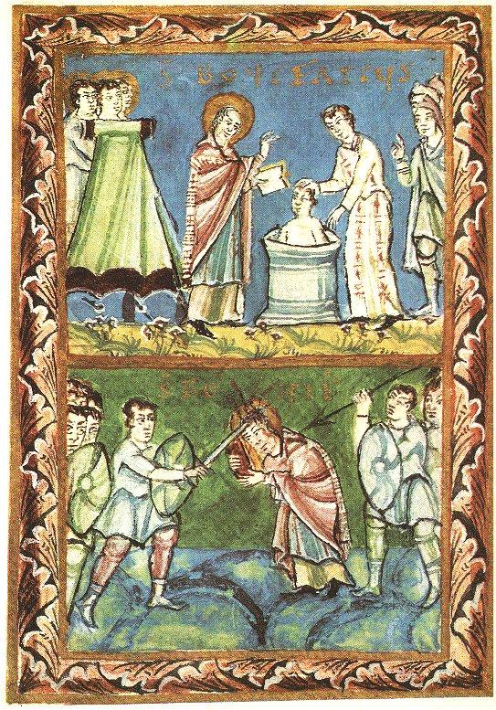 Heidentaufe und Martyrium Bonifatius', Fuldaer Sakramentar, 11. Jahrhundert, Staatliche Bibliothek Bamberg