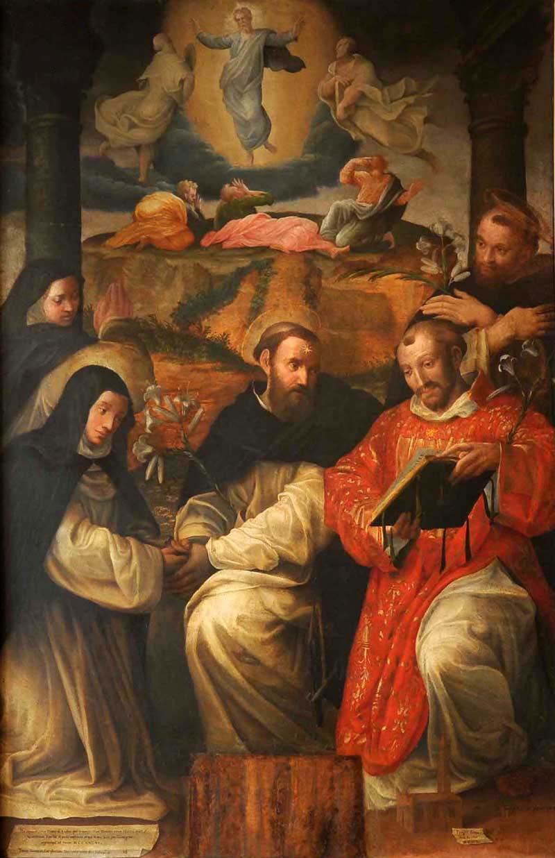 Prospero Fontanta, Diana legt vor Dominikus ihre Gelübde ab, 1597, Museo di San Domenico a Bologna