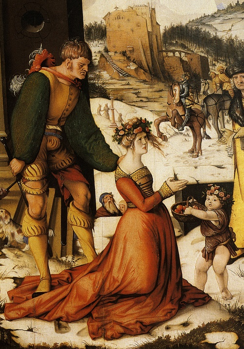 Hans Baldung Grien, Das Blumenwunder der hl. Dorothea (Ausschnitt), 1516, Nationalgalerie, Prag
