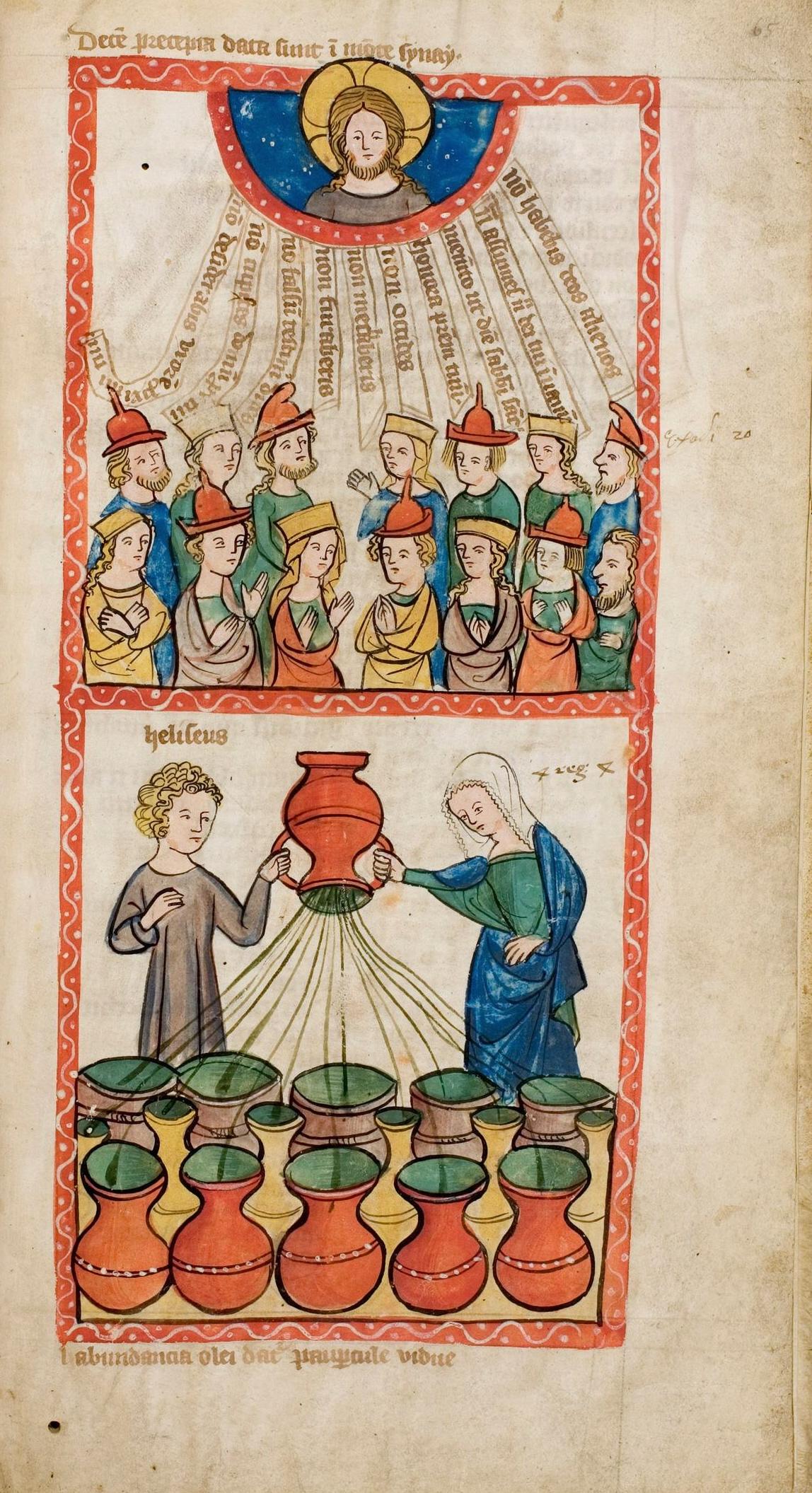 Elischa vermehrt die Ölvorräte der mittellosen Witwe, darüber die Zehn Gebote, Speculum Humanae Salvationis, um 1360, Universitäts- und Landesbibliothek Darmstadt