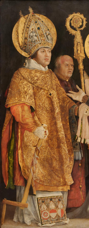 Matthias Grünewald, Empfang des hl. Erasmus durch den hl. Mauritius (Ausschnitt), um 1517–1523, Alte Pinakothek, München