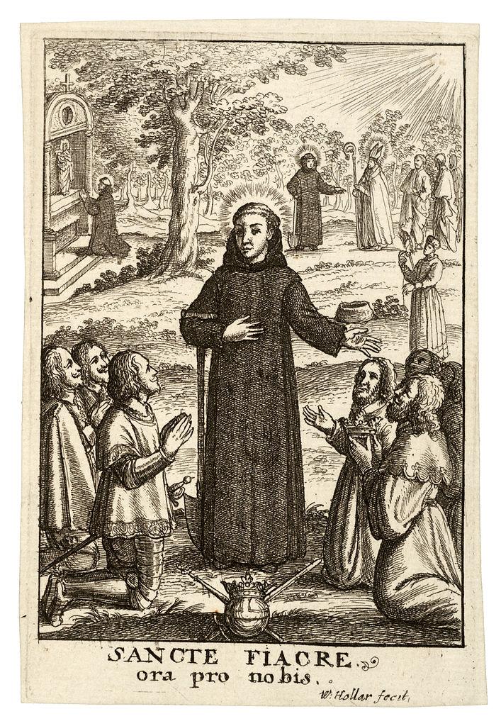 Wenzel Hollar, Der heilige Fiacrius, 17. Jahrhundert