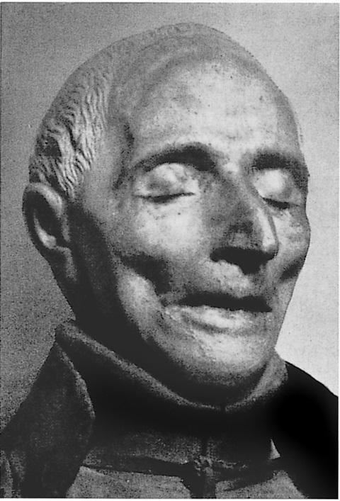 Totenmaske in der Kirche del Gesù Nuovo, Neapel, aus: Vera Schauber, Hanns M. Schindler, Bildlexikon der Heiligen, 1999. Mit freundlicher Genehmigung der Autoren