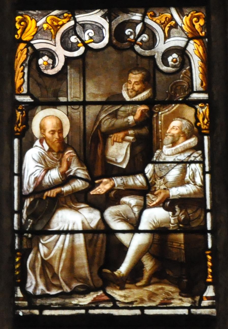 Franz von Sales im Religionsgespräch, Glasfenster von Claudius Lavergne (Ausschnitt), 1880, Kirche Saint-Nizier, Lyon. Foto: Philippe Alès (CC BY-SA 3.0)