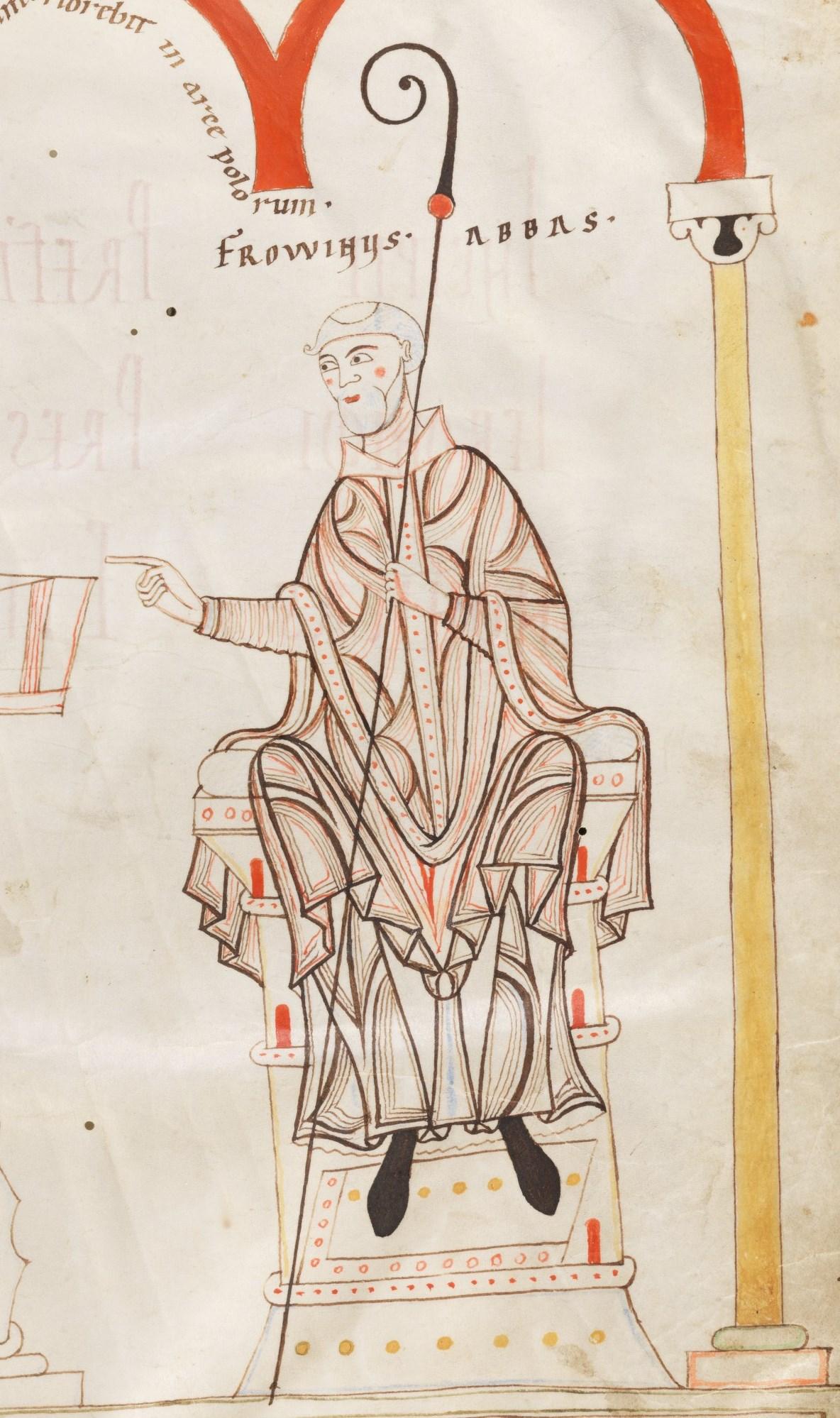 Frowin auf dem Deckblatt der Engelberger Bibel (Ausschnitt), 12. Jahrhundert, Engelberg, Stiftsbibliothek (CC BY-NC 4.0)