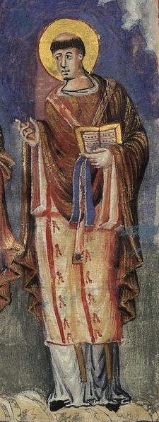Sakramentar Karls des Kahlen, Gelasiusdetail, um 870, Bibliothèque Nationale de France, Paris