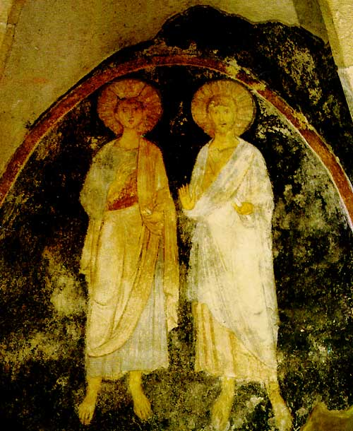 Mit Stephan, Fresko in der Gisela-Kapelle der St. Michaelskathedrale von Veszprém, 13. Jahrhundert