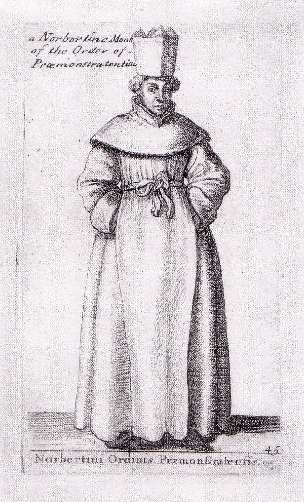 Prämonstratenser-Chorherr, Radierung von Wenzel Hollar, 1661