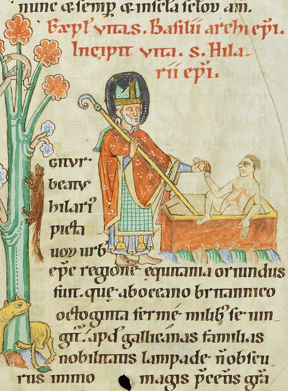 Hilarius erweckt ein totes Kind wieder zum Leben, Weißenauer Passionale, um 1185