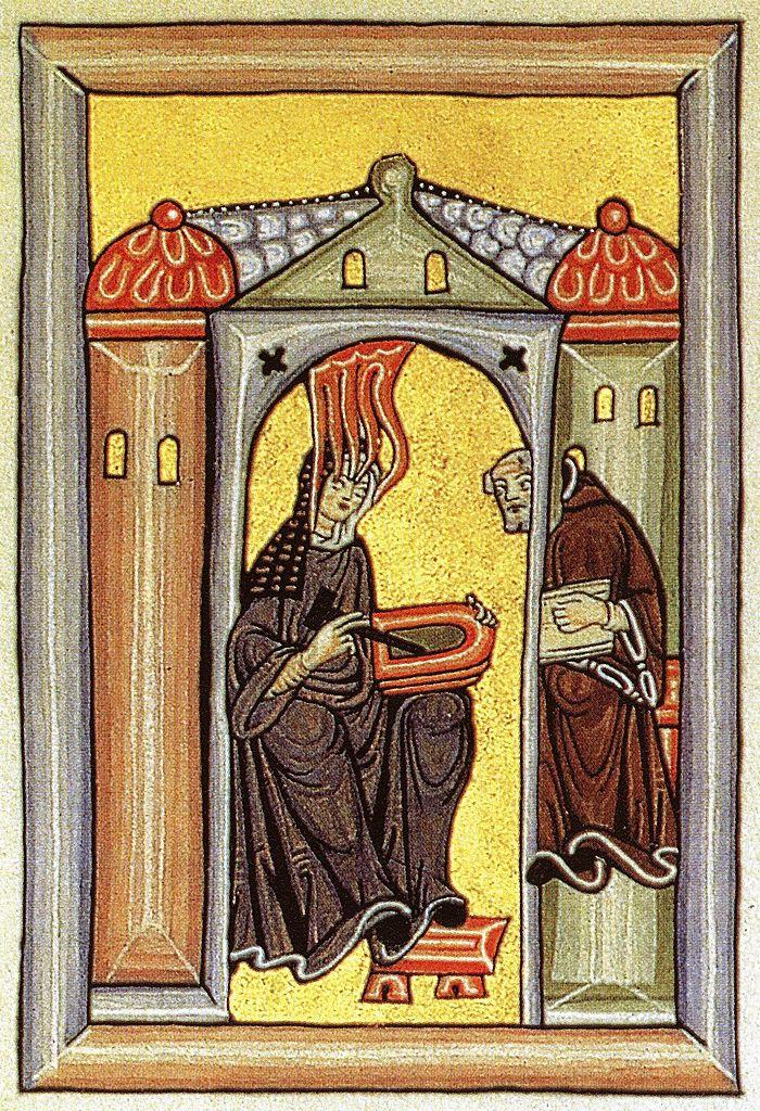 Hildegard diktiert ihrem Schreiber ihre Eingebungen. Miniatur des Rupertsberger Codex des Liber Scivias