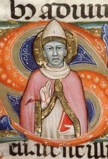 Honoratus auf der Initiale einer illuminierten Handschrift, 14. Jahrhundert