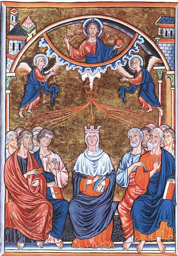 Pfingstdarstellung des Ingeborg-Psalters, um 1195, Musée Condé, Chantilly