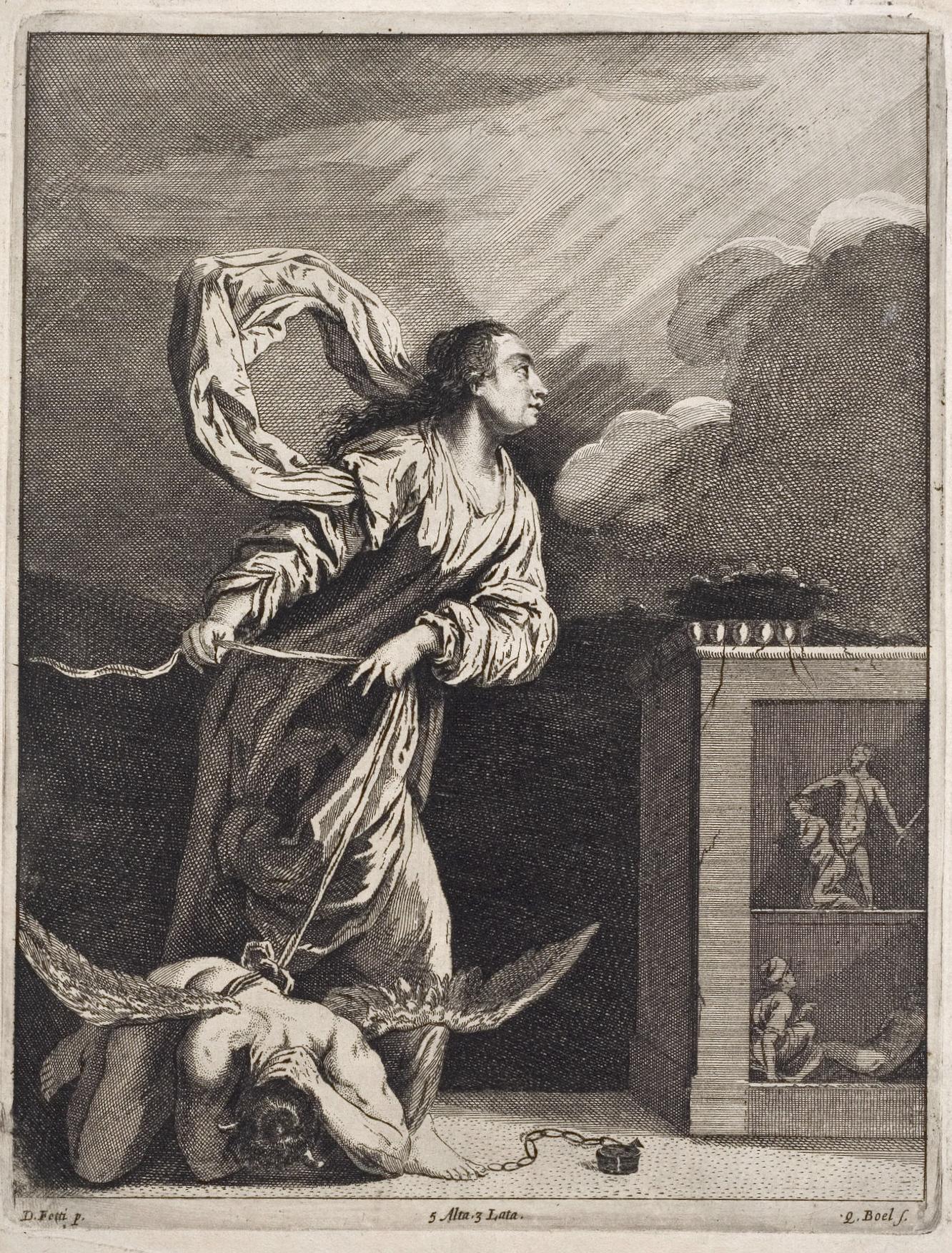 Reproduktion nach Domenico Fetti, Die hl. Juliana von Nikomedien besiegt den Teufel, 1660, Fürstlich Waldecksche Hofbibliothek Arolsen (CC-BY-SA 3.0)