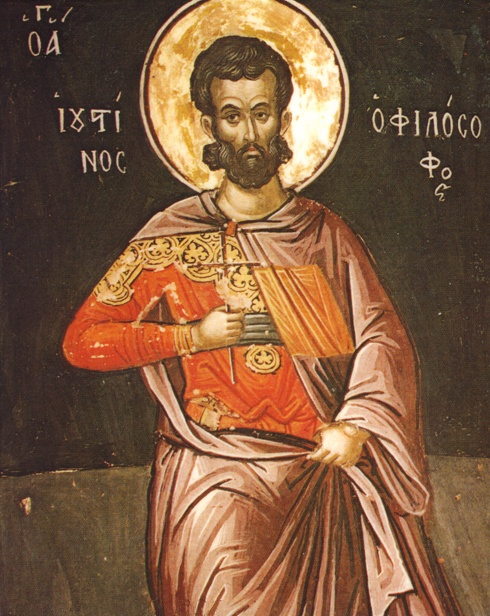 Justin der Philosoph, Fresko von Theophanes dem Kreter, 1545–1546, Kloster Stavronikíta, Athos