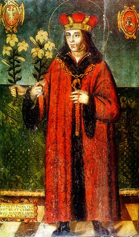 """""""Wundertätiges"""" Bild des hl. Kasimir mit drei Händen, um 1520, Litauisches Kunstmuseum, Vilnius"""