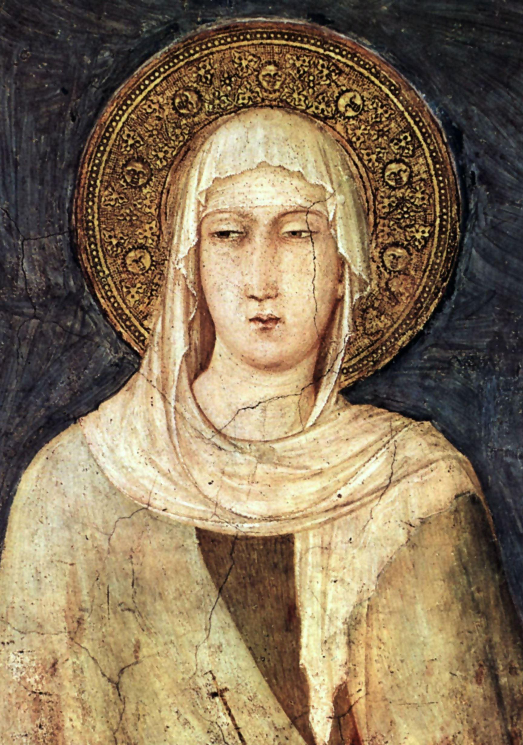 Simone Martini, Die heilige Klara, Freskendetail in der Unterkirche der Basilika San Francesco in Assisi, 1322–1326