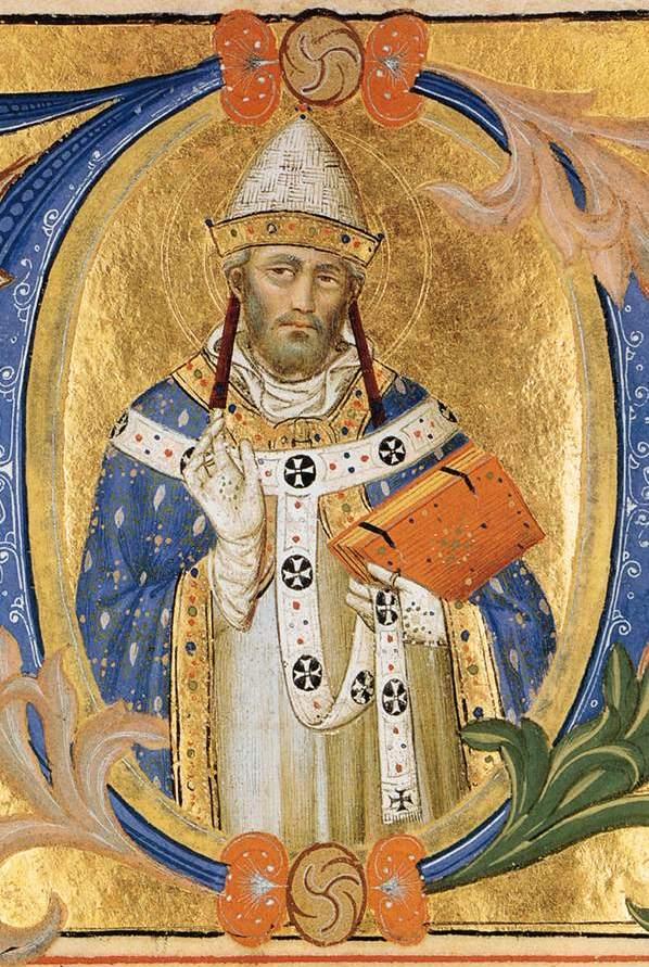 Silvestro dei Gherarducci, Initiale zur Messe vom hl. Clemens, Graduale der Florentiner Kirche Santa Maria degli Angeli, um 1370, Fitzwilliam Museum, Cambridge