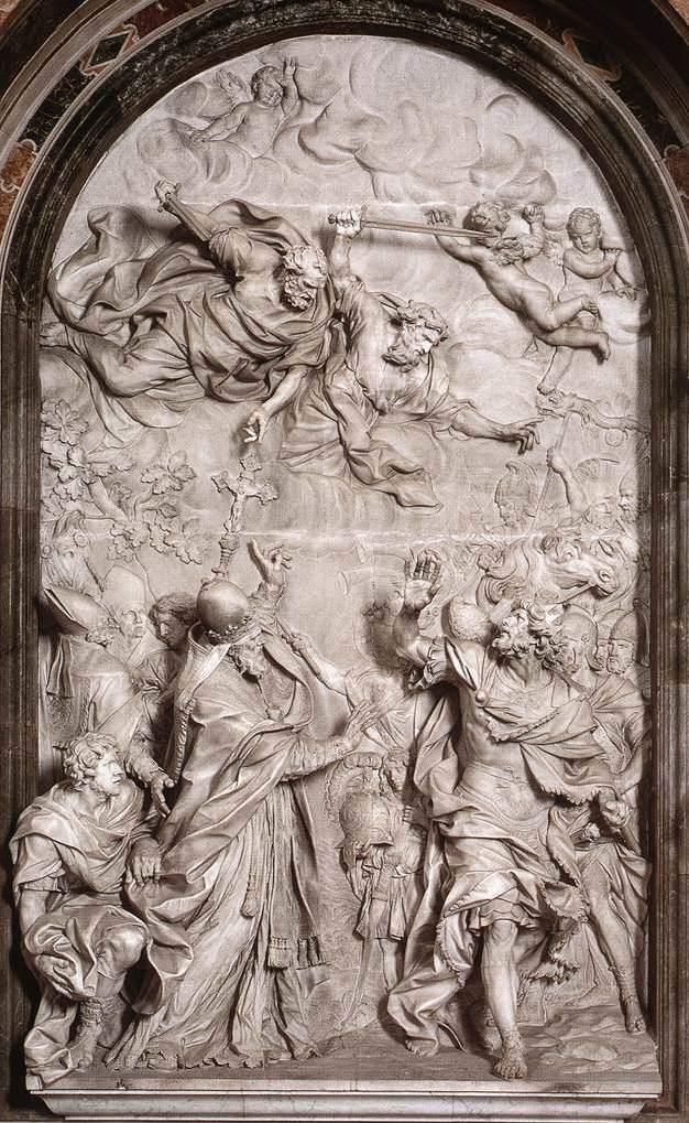 Leo I. und Attila, Altarrelief von Alessandro Algardi im Petersdom, 1646–1653