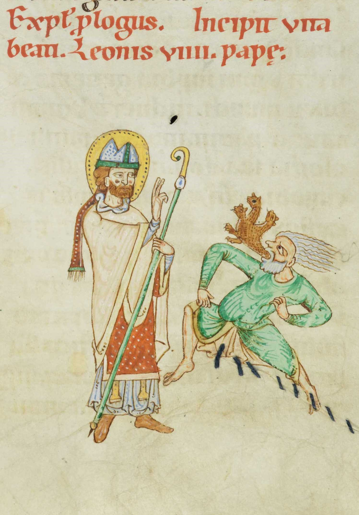Papst Leo befreit einen Greis von einem Dämon. Illustration des Weißenauer Passionale, um 1170 bis 1200, Fondation Bodmer, Coligny
