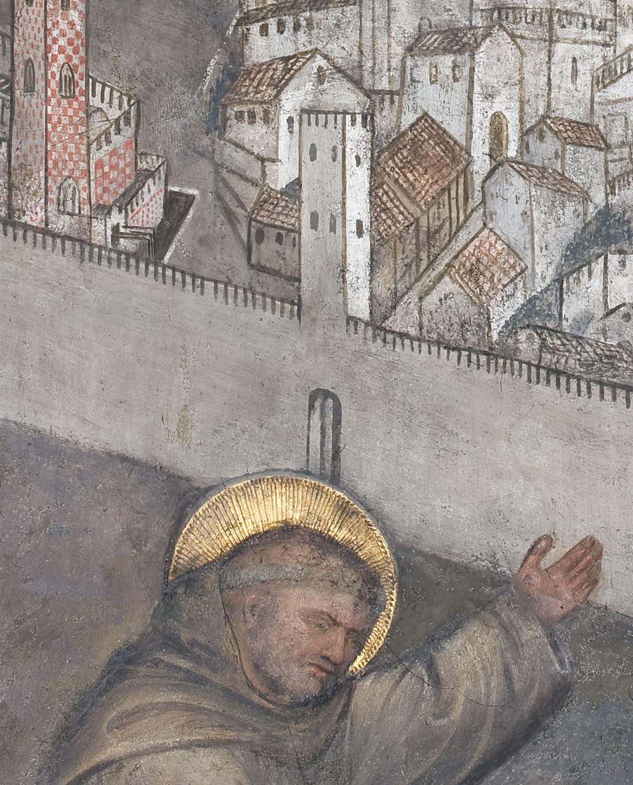 Giusto de' Menabuoi, Lukas Belludi vor einer Ansicht Paduas (Ausschnitt), um 1376, Cappella Belludi, Antoniusbasilika Padua