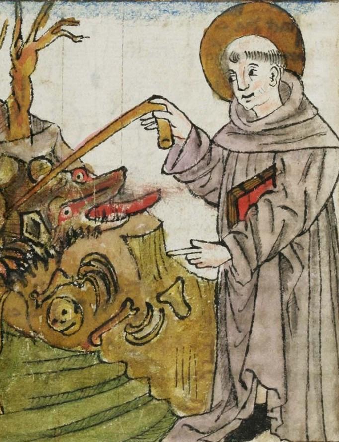 """Cuonrad Sailer (?), Gallus beschwört den Drachen bei Kempten, aus """"St. Galler Hausheilige"""", um 1455, Klosterbibliothek St. Gallen"""
