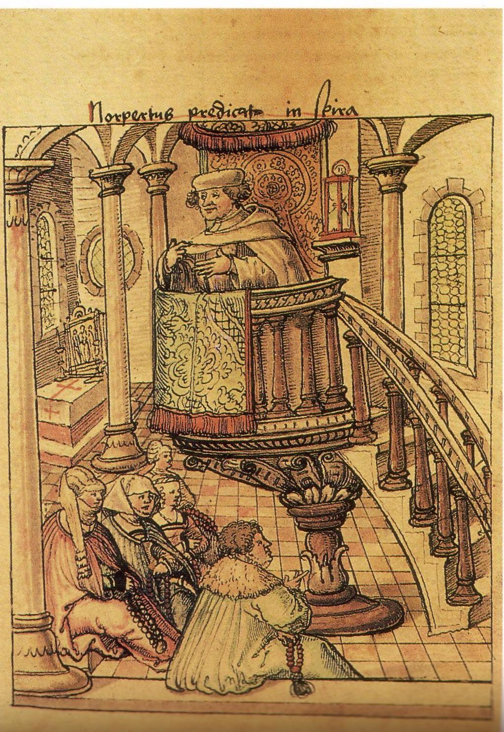 Norbert predigt in Speyer, Weißenauer Traditionscodex (um 1525), Fürstlich Waldburg-Zeil'sches Gesamtarchiv