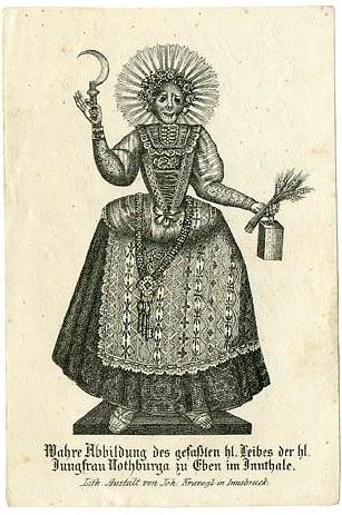 Notburgas Ganzkörperskelett-Reliquie auf einer Lithographie des 19. Jh.