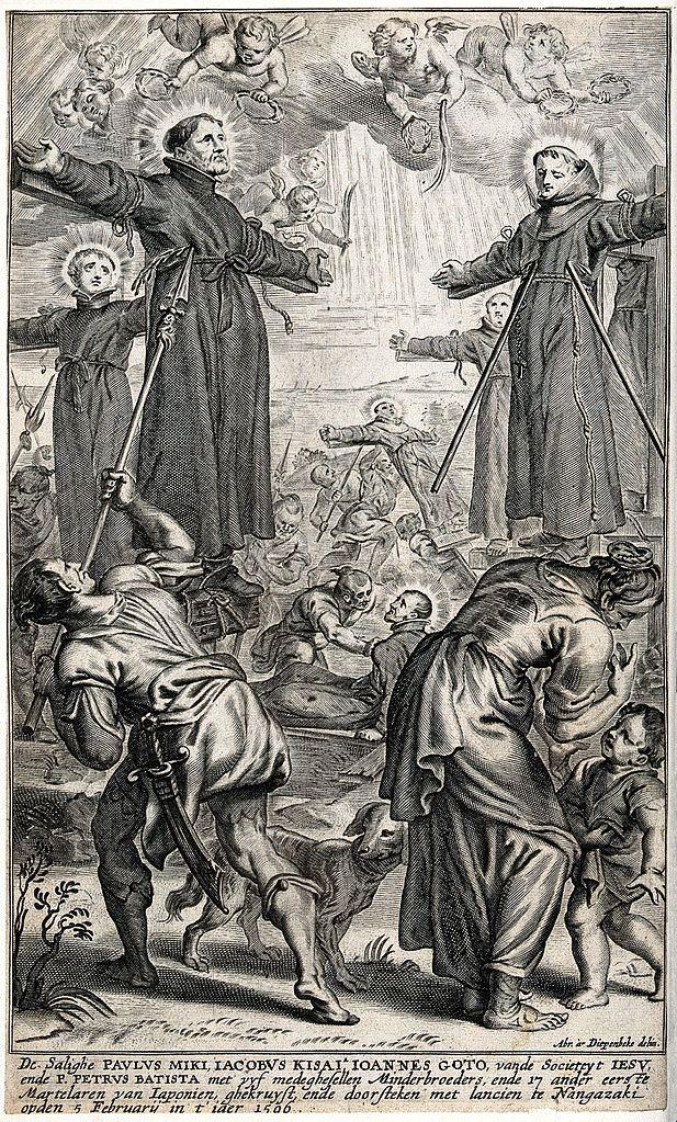 Das Martyrium von Paul Miki und Gefährten, Kupferstich nach Abraham van Diepenbeeck, 1667. Foto: Wellcome Library, London (CC BY 4.0)
