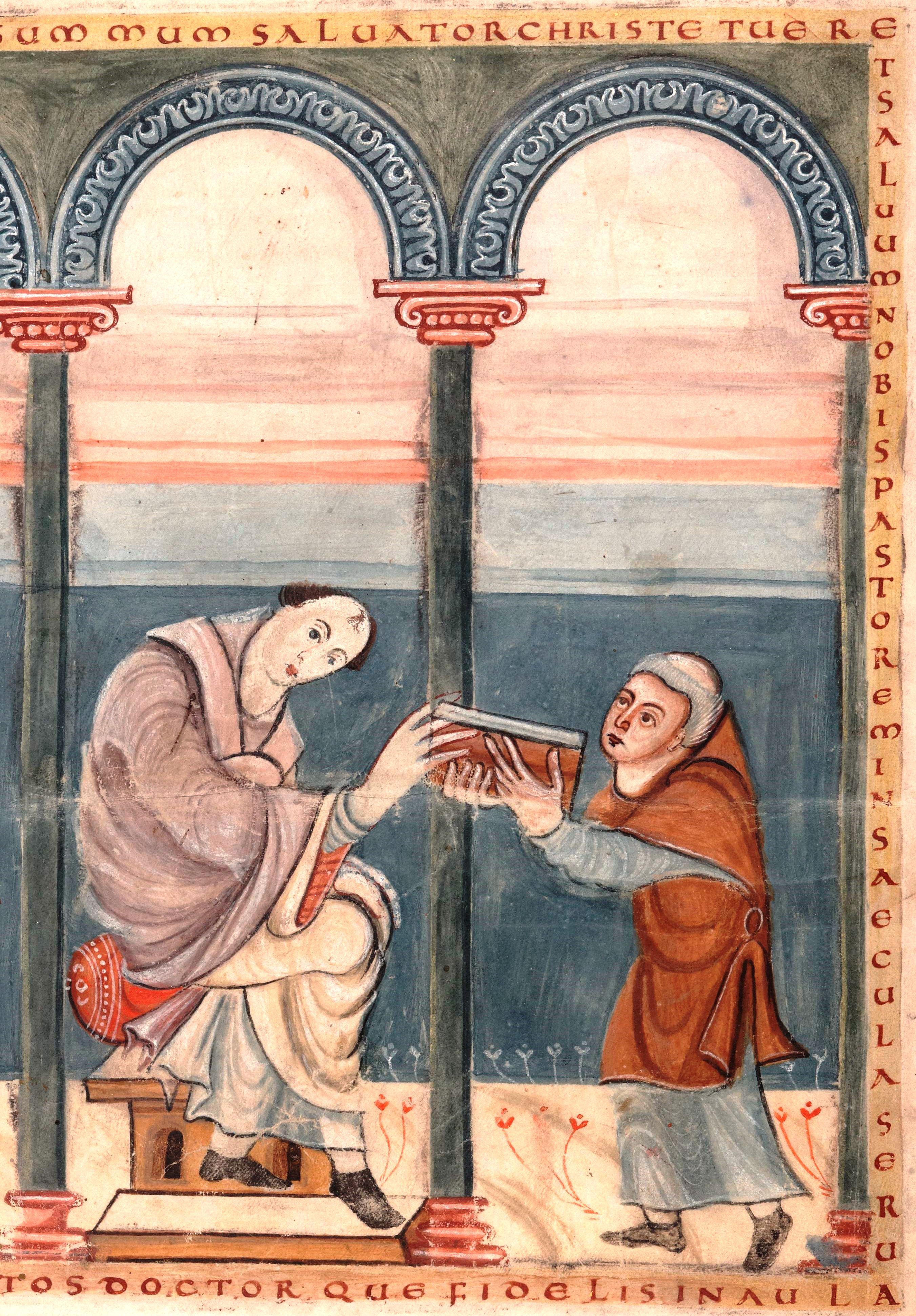 """Rabanus überreicht Papst Gregor IV. sein Werk """"De laudibus sanctae crucis – Lob des heiligen Kreuzes"""" (Ausschnitt), um 844, Amiens Bibliothèque municipale Ms. 223"""