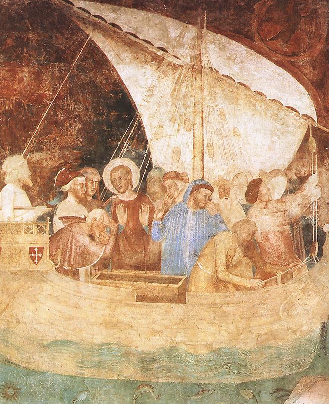 Andrea Bonaiuti, Detail aus dem Rainer gewidmeten Freskenzyklus, 1351–1400, Camposanto Monumentale, Pisa