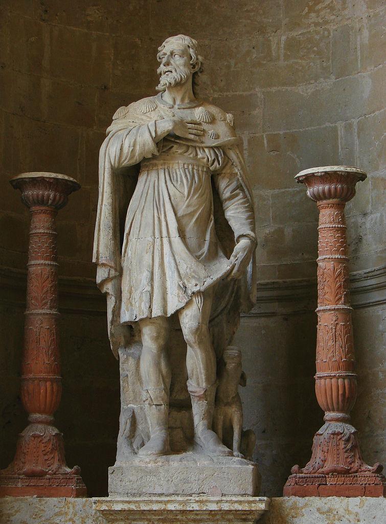 Rochusstatue in der Kathedrale von Auch, Südwestfrankreich