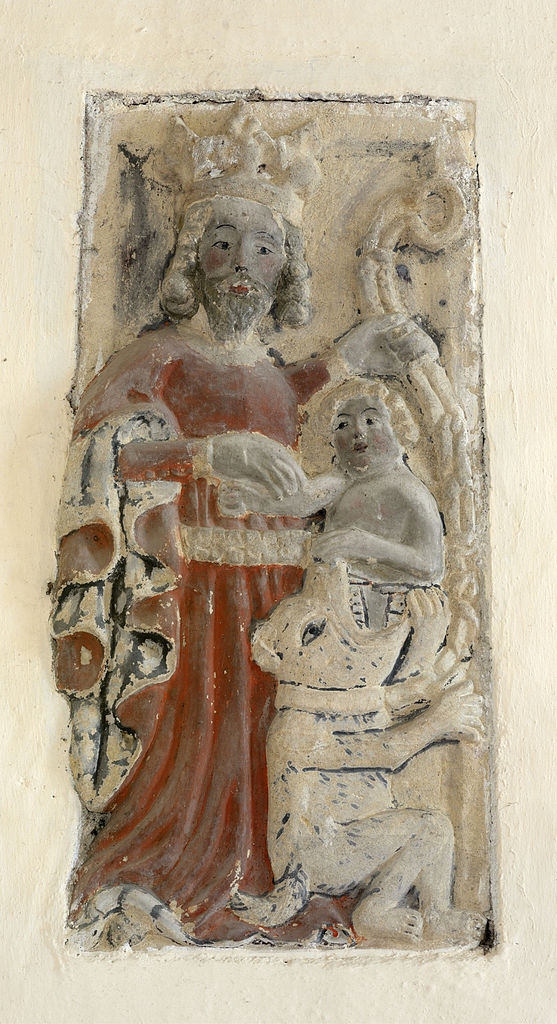Sandsteinrelief, 15. Jahrhundert, an der Kirche St. Konstantin bei Völs, Südtirol. Foto: Wolfgang Moroder (CC BY-SA 3.0)