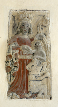 Sandsteinsrelieff (1400-t) i kirken St Konstantin ved Völs am Schlern (Fiè allo Sciliar) i provinsen Bolzano/Bozen i regionen Trentino-Alto Adige/Trentino-Südtirol. Foto: Wolfgang Moroder