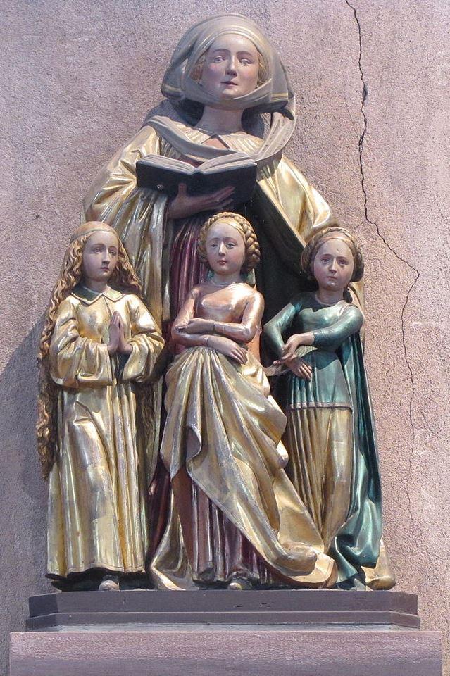 Eschau, Kirche Saint-Trophime, Die heilige Sophia mit ihren Töchtern, 1470. Foto: Ralph Hammann (CC BY-SA 3.0)