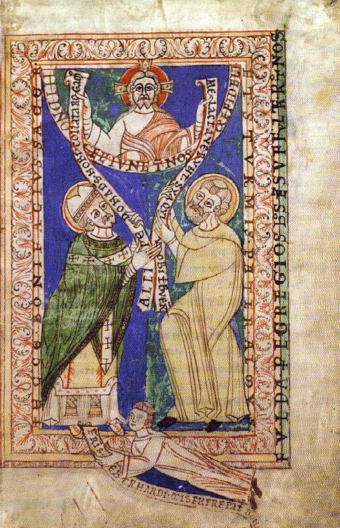 Mit Bonifatius (links) auf dem Widmungsbild des Codex Eberhardi, 12. Jahrhundert, Staatsarchiv Marburg