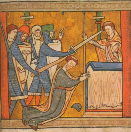 Thomas' Martyrium vor dem Altar der Kathedrale von Canterbury, Buchmalerei, 12. Jahrhundert