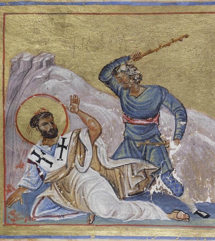 Das Martyrium des Timotheus (Ausschnitt), Griechisches Menologion, um 1025 bis 1050, Walters Art Museum, Baltimore