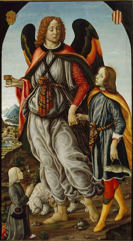 Francesco Botticini, Der Erzengel Raphael mit Tobias und Stifter, 1480–1490, Sakristei der Kathedrale von Florenz