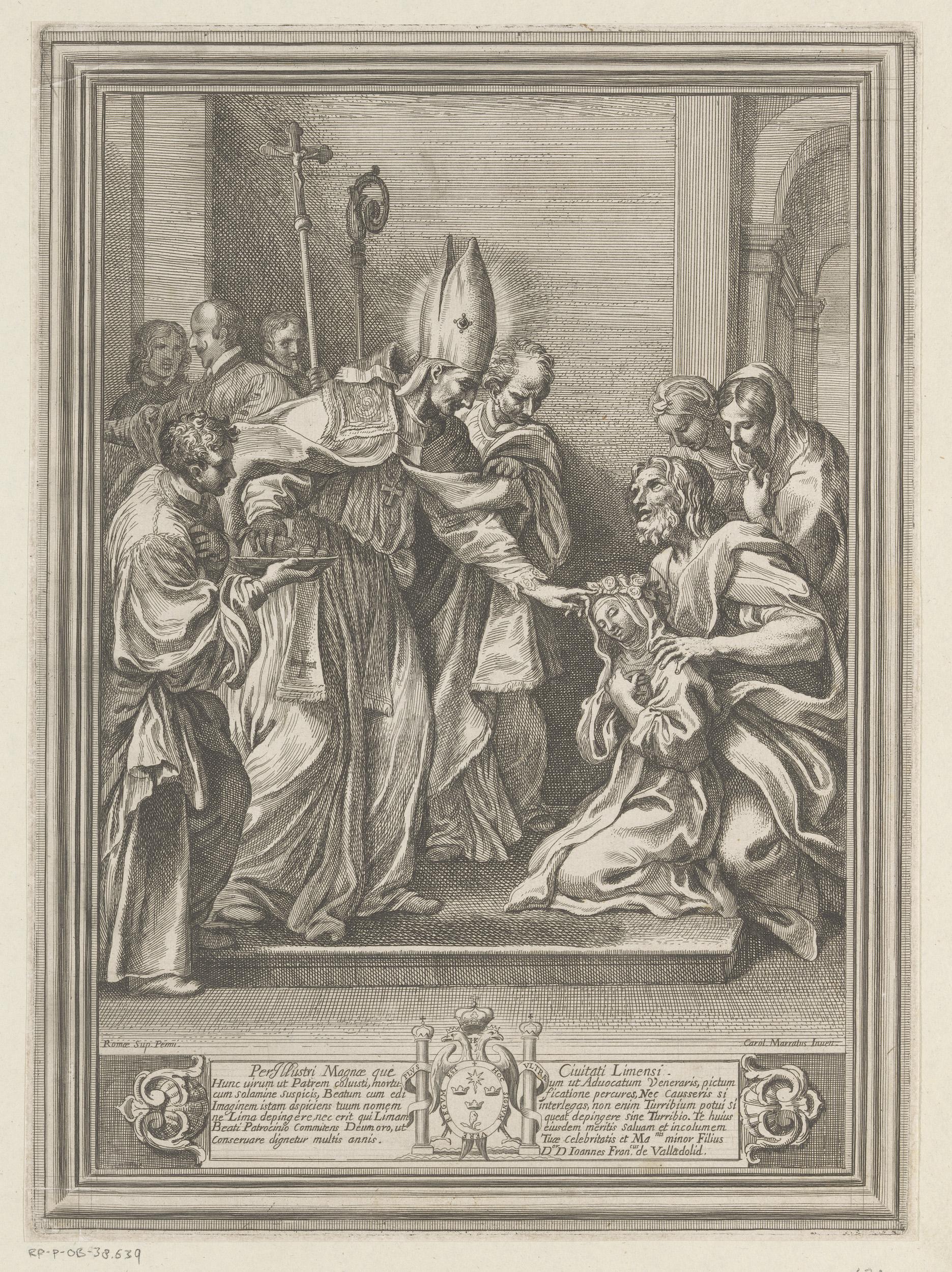 """""""Turibius von Mogrovejo segnet eine junge Frau"""" (Rosa von Lima): aus einer Kupferstichserie von Carlo Maratti, um 1625, Rijksmuseum, Amsterdam"""