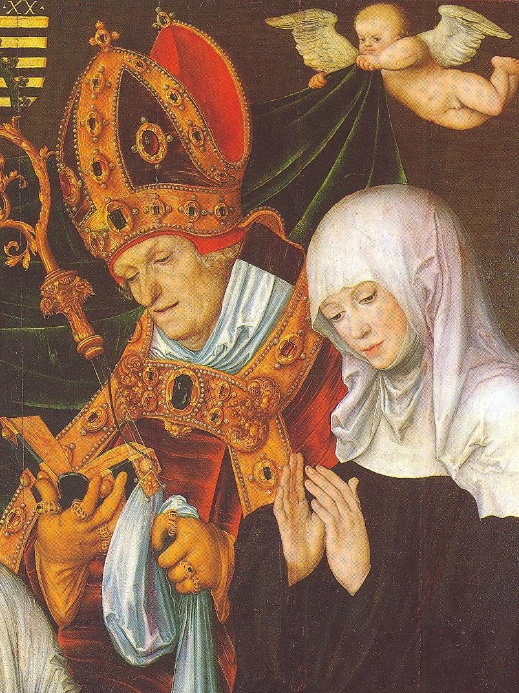 Lukas Cranach d.Ä., Die hl. Walburga mit dem hl. Willibald (Ausschnitt), 1520, Staatsgalerie in der Neuen Residenz, Bamberg
