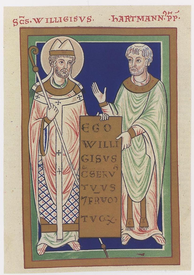 Willigis mit Hartmann, Willigis-Offizium, 12. Jahrhundert, Universitätsbibliothek Moskau